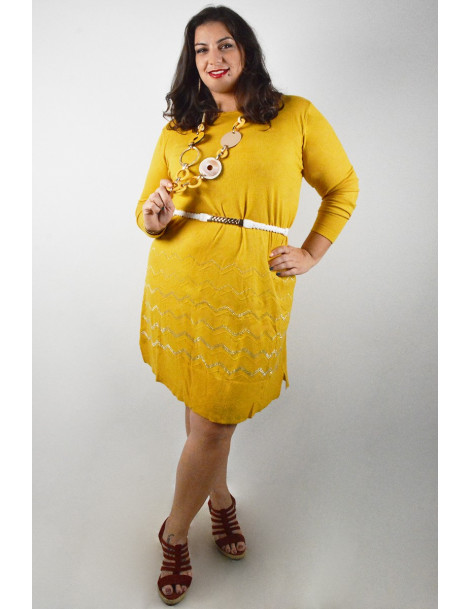 Jumper dress with strass details - Mustard