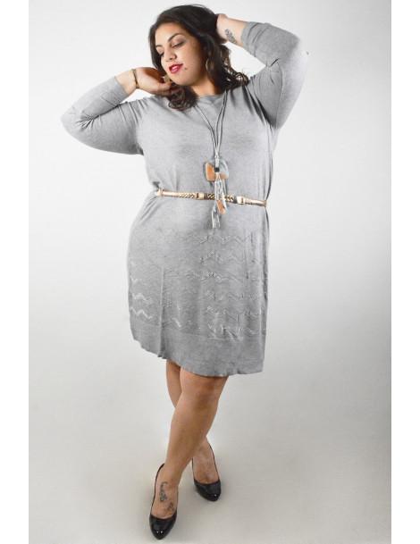 Robe pull avec strass zig zag - Gris clair