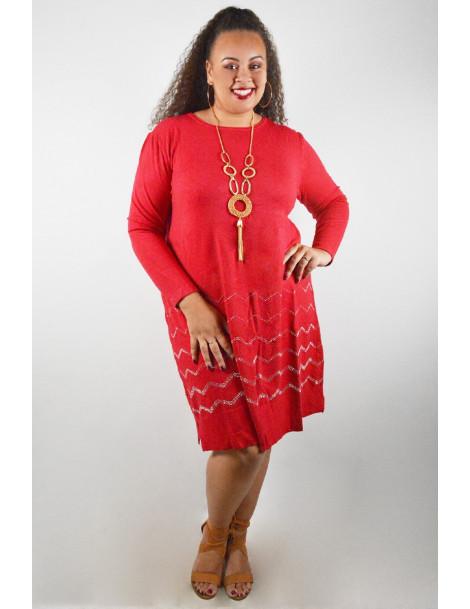 Robe pull avec strass zig zag - Rouge vif