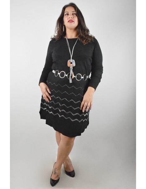 copy of Jumper dress with strass details - Black