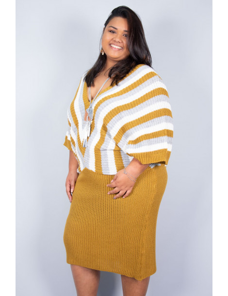 Robe pull Paloma - Jaune moutarde